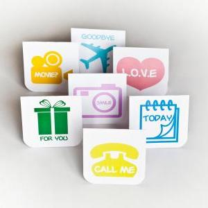 7pcs of Blank Mini Cards (Icon Them..