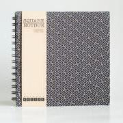 Square Sketch Doodle Notebook - Japanese Sayagata Patterns Fabric Wrapped