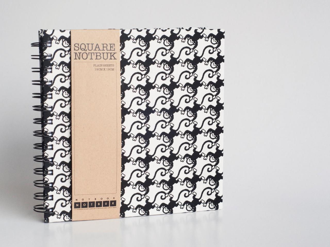 Square Sketch Doodle Notebook - Monkey Fabric Wrapped