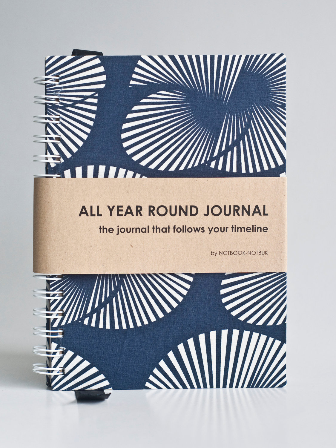 All Year Round Timeless Journal (Self filled dates, months & years, fabric wrapped) - Blue Japanese Fan