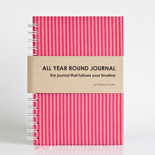 All Year Round Journal (unfilled dates / months / years) - Barbie Pink Stripes