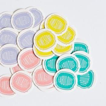 24 pcs Stickers (Awesome - Wonderful - Fabulous - Fantastic)