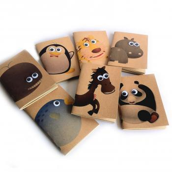 SET OF 7 - Animal Series Kraft Paper Booklets / Notebooks