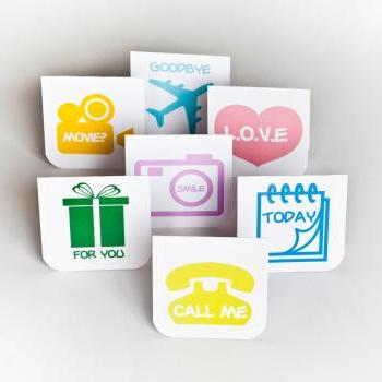 7pcs of Blank Mini Cards (Icon Themed)