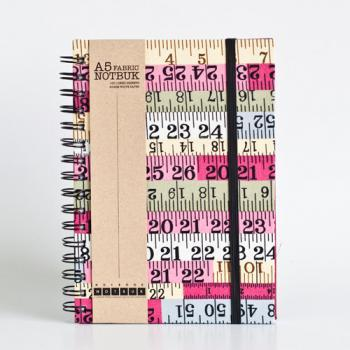 A5 Measuring Tape Fabric Wrapped Notebook with Elastic Band (choose from line / empty sheets)