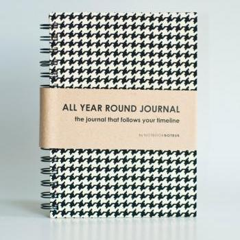 All Year Round Timeless Journal (Self filled dates, months & years, fabric wrapped) - Houndstooth