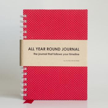 All Year Round Journal (unfilled dates / months / years) - Red Polkadots